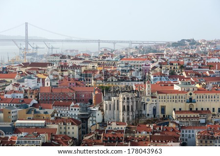 """Panoramic view of Lisbon city and Tagus river from the """"Castle Sao Jorge"""". Lisbon, Portugal. - stock photo"""