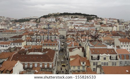Panoramic view of Lisbon, the capital city of Portugal - stock photo