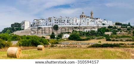 Panoramic view of Locorotondo. Puglia, Italy. Town known for its wines and for its circular structure which is now a historical center. - stock photo