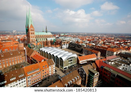 Panoramic view of Lubeck in Germany  - stock photo