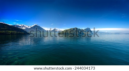Panoramic view of Lucerne lake with swiss alps in spring, Switzerland  - stock photo