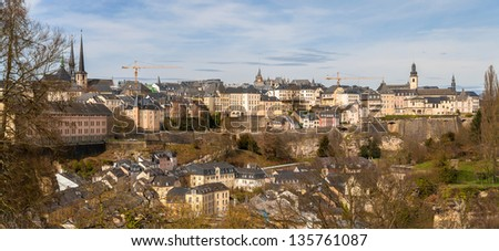 Panoramic view of Luxembourg city - stock photo