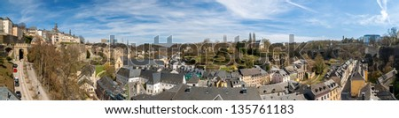 Panoramic view of Luxembourg old town - stock photo
