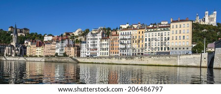 Panoramic view of Lyon with basilica and Saone river, France - stock photo