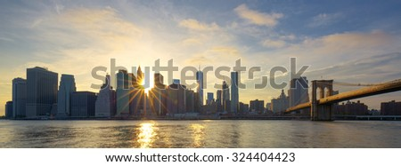 Panoramic view of Manhattan at sunrise, New York City.  - stock photo