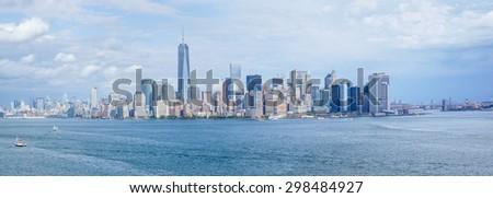 panoramic view of Manhattan, new york city skyline - stock photo