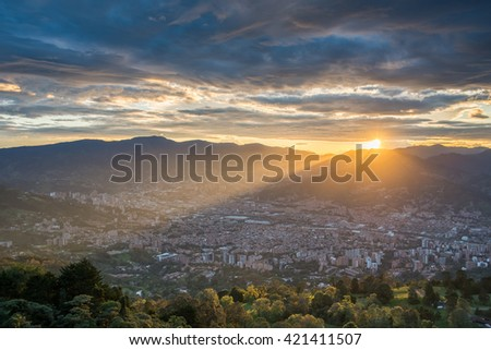 Panoramic view of Medellin, colombia - stock photo