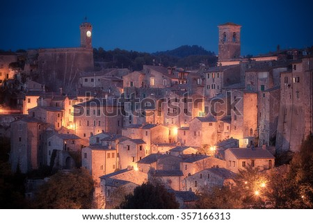 Panoramic view of medieval town Sorano. Tuscany, Grosseto, Italy - stock photo