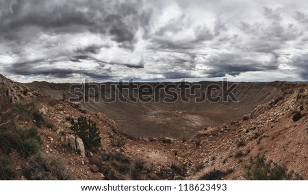 Panoramic view of Meteor Crater located in Winslow Arizona - stock photo
