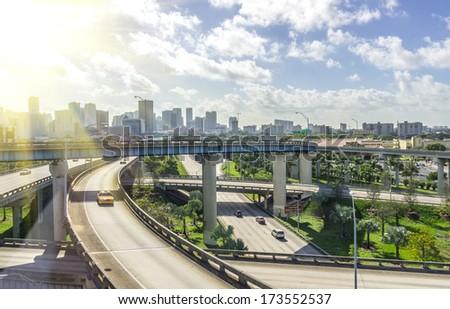 Panoramic view of Miami skyline and highways - stock photo