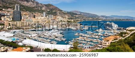 Panoramic view of Monaco harbor - stock photo