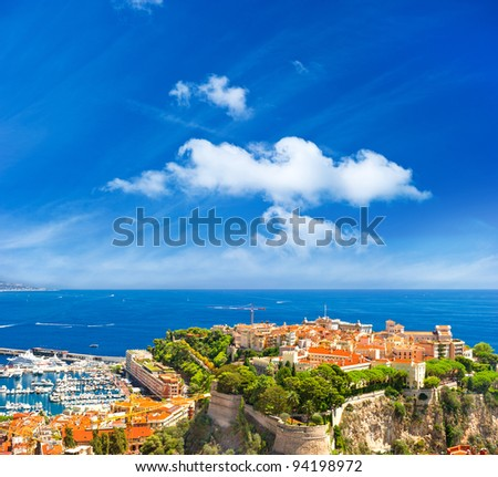panoramic view of Monaco with palace and harbor. Cote d'Azur. french riviera - stock photo