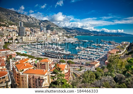 Panoramic view of Monte Carlo harbour in Monaco. - stock photo