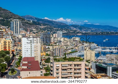 Panoramic view of Monte Carlo in a summer day, Monaco - stock photo