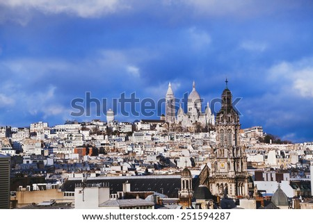 panoramic view of Montmartre, Paris, France - stock photo
