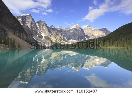 Panoramic view of Moraine Lake in Canadian Rockies - stock photo