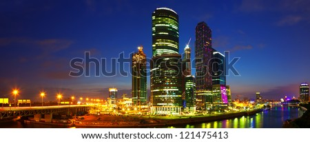 Panoramic view of Moscow  in summer night - stock photo