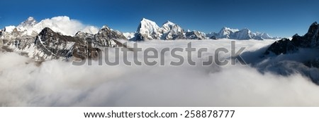 Panoramic view of Mount Everest, Lhotse and Makalu from Gokyo Ri - Khumbu valley, sagarmatha national park - Nepal - stock photo