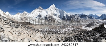 panoramic view of Mount Everest with beautiful sky and Khumbu glacier from Kala Patthar - Khumbu valley - way to Everest base camp - Nepal  - stock photo