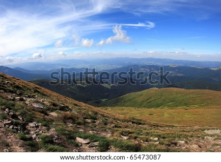 panoramic view of mountain valley in the Carpathian Mountains - stock photo