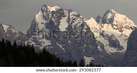 Panoramic view of mountains of the 'Gruppo di Cristallo', Auronzo di Cadore, Sexten Dolomites, South Tyrol, Italy - stock photo