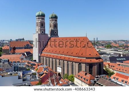 Panoramic view of Munich with Frauenkirche cathedral, symbol of the city, Germany. - stock photo