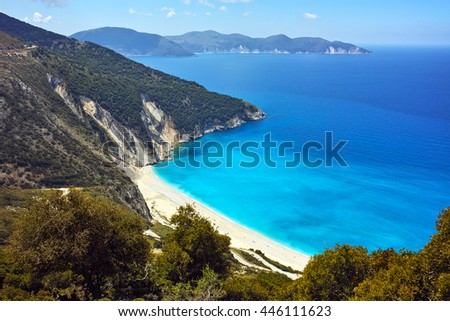 Panoramic view of Myrtos Beach, Kefalonia, Ionian Islands, Greece - stock photo
