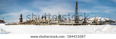 Panoramic view of Naval vessels on the Petropavlovsk-Kamchatsky seaport. Far East, Russia - stock photo