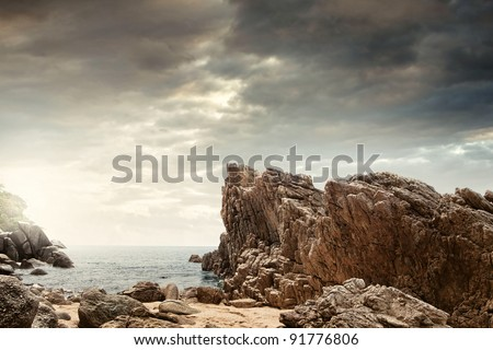 panoramic view of  nice colorful  huge cliff  and sea on the back - stock photo
