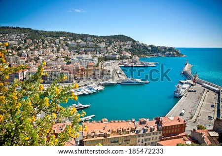 Panoramic view of Nice harbour with blue sky, France. - stock photo