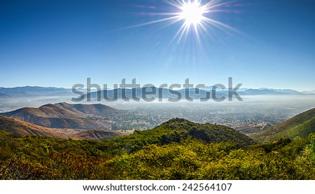Panoramic view of Oaxaca from Monte Alban, Mexico - stock photo