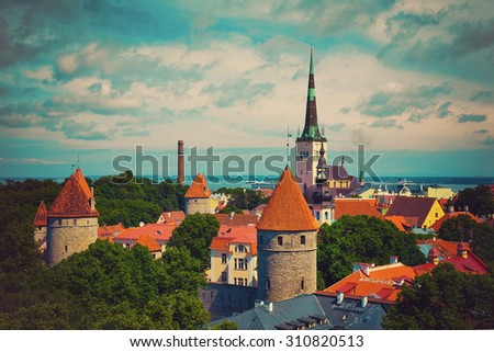 Panoramic view of Old Tallinn cityt, Estonia - stock photo
