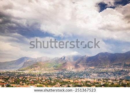Panoramic view of Palermo from Monreale in cloudy day. - stock photo