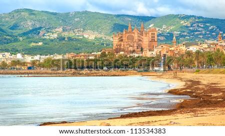 Panoramic view of Palma beach, Mallorca, Spain - stock photo