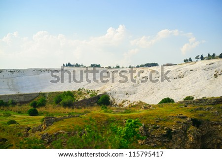 Panoramic view of Pamukkale (cotton castle) - unique nature wonder in Turkey - stock photo