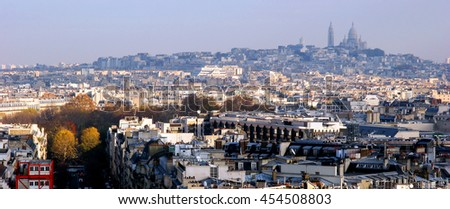 Panoramic view of Paris from the Arc de Triomphe. Autumn. Rain. Sun. - stock photo