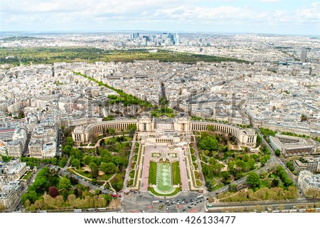 Panoramic view of Paris from the Eiffel tower - stock photo