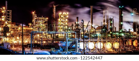 Panoramic view, Of part of Petroleum Center of Montreal East. - stock photo