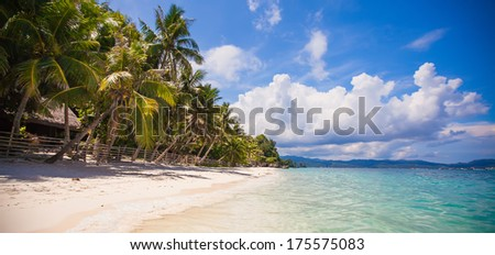 Panoramic view of perfect beach with green palms,white sand and turquoise water - stock photo