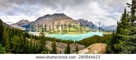 Panoramic view of Peyto lake and Rocky mountains, Alberta, Canada - stock photo
