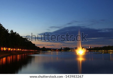 Panoramic view of Pfaffenteich lake and Schwerin city at evening, Mecklenburg-Vorpommern region, Germany - stock photo
