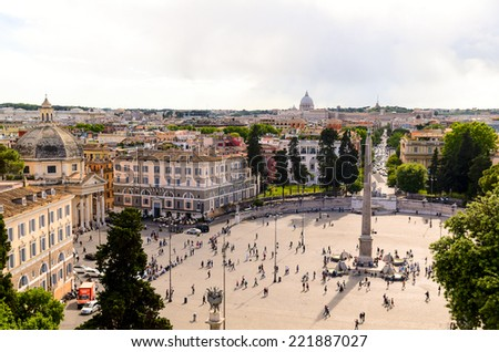 panoramic view of Piazza del Popolo and St. Peter's Basilica, Rome, Italy - stock photo