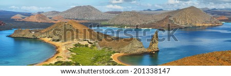 Panoramic view of pinnacle Rock and surroundings in Bartholomew island, Galapagos, Ecuador - stock photo