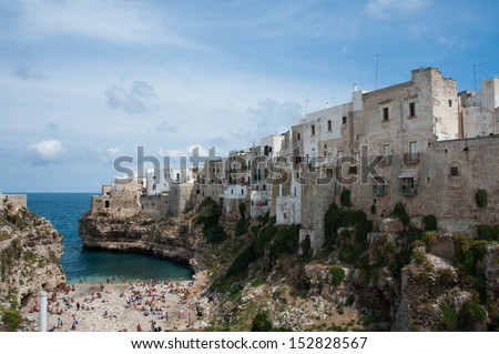 Panoramic view of Polignano a Mare. Apulia. - stock photo