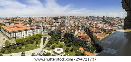 Panoramic view of Porto cityscape old downtown, UNESCO World Heritage Site, Portugal. - stock photo
