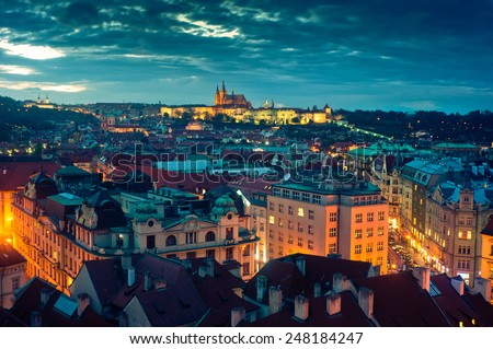 Panoramic view of Prague - stock photo