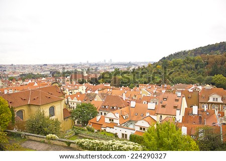Panoramic view of Prague city from hill - stock photo