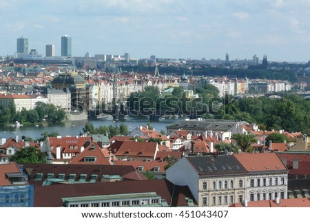 Panoramic View of Prague, Czech Republic - stock photo