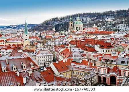 Panoramic view of Prague from the Prague Castle, Czech Republic - stock photo