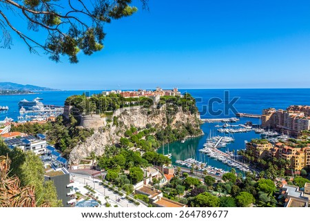 Panoramic view of prince's palace in Monte Carlo in a summer day, Monaco - stock photo